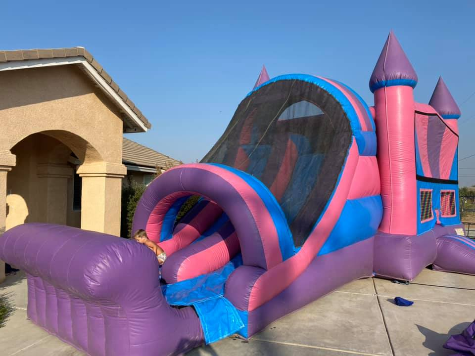 Castle Bounce House With Dual Lane Slide in Pink and Blue