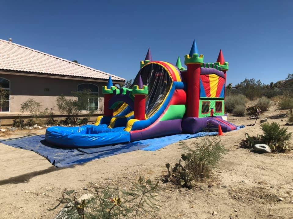 Castle dual lane slide bounce house combo