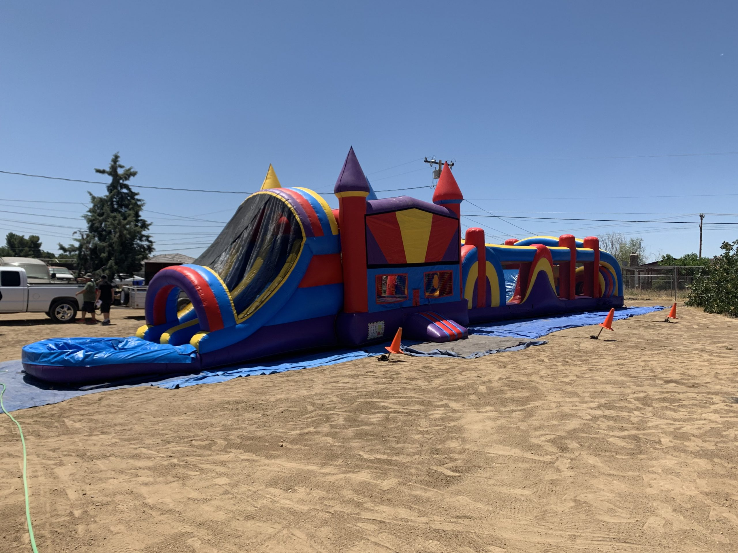 Obstacle Course plus dual lane bounce house combo slide