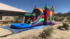 Castle dual lane slide bounce house combo