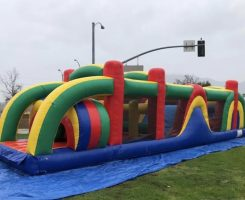 blue green yellow and red obstacle course